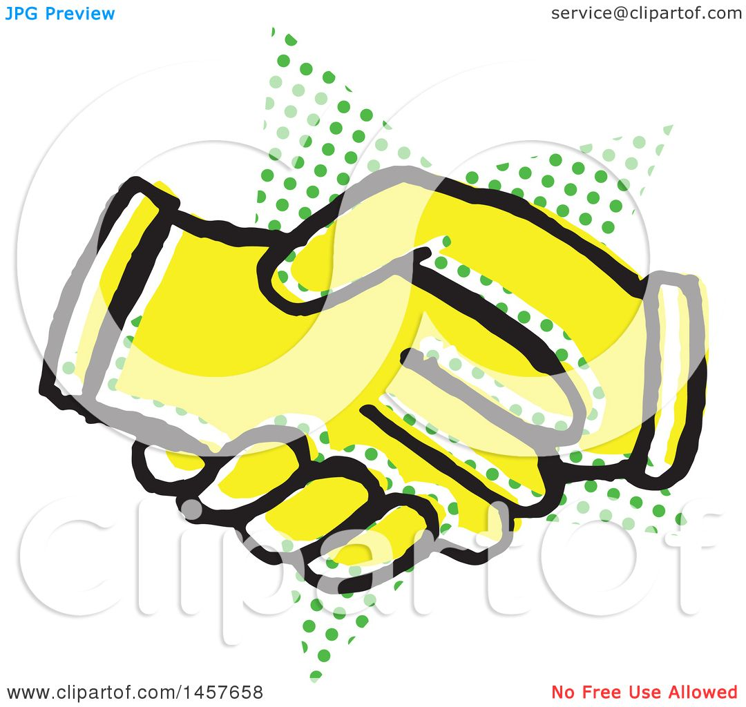 1080x1024 Clipart Of A Pop Art Styled Yellow Hand Shake Over A Halftone Star