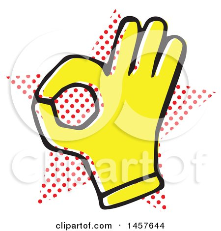450x470 Clipart Of A Pop Art Styled Yellow Ok Hand Over A Halftone Star