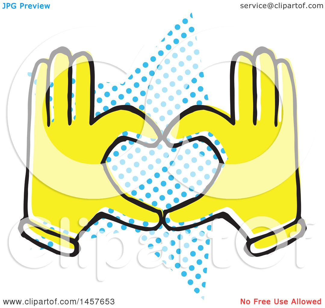 1080x1024 Clipart Of Poprt Styled Yellow Hands Forming Heart Over