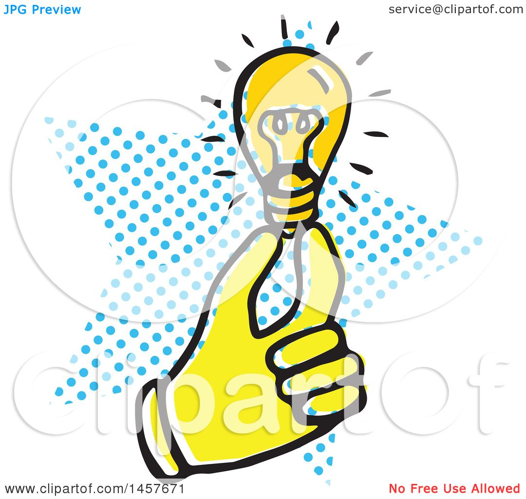 1080x1024 Clipart Of Poprt Styled Yellow Hand Holding Lightbulb Over
