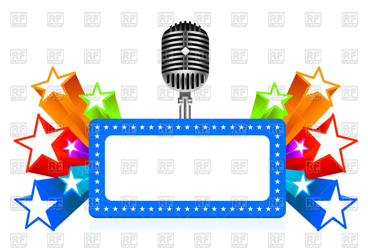 1200x822 Retro Frame With Microphone Royalty Free Vector Clip Art Image