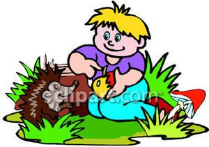 300x212 Cartoon Boy Feeding A Porcupine