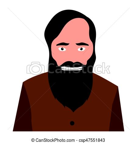 450x470 Isolated Man Portrait. Isolated Portrait Of A Man, Vector Eps