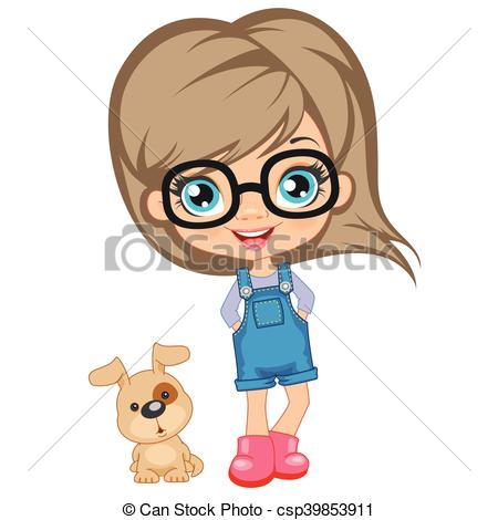 450x470 Portrait Of A Cute Girl In Glasses Isolated Vector Clip Art