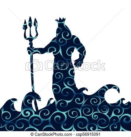 450x470 Poseidon God Pattern Silhouette Ancient Mythology Fantasy . Eps