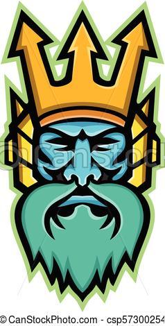 238x470 Poseidon Greek God Head Frnt Mascot. Mascot Icon Clipart Vector
