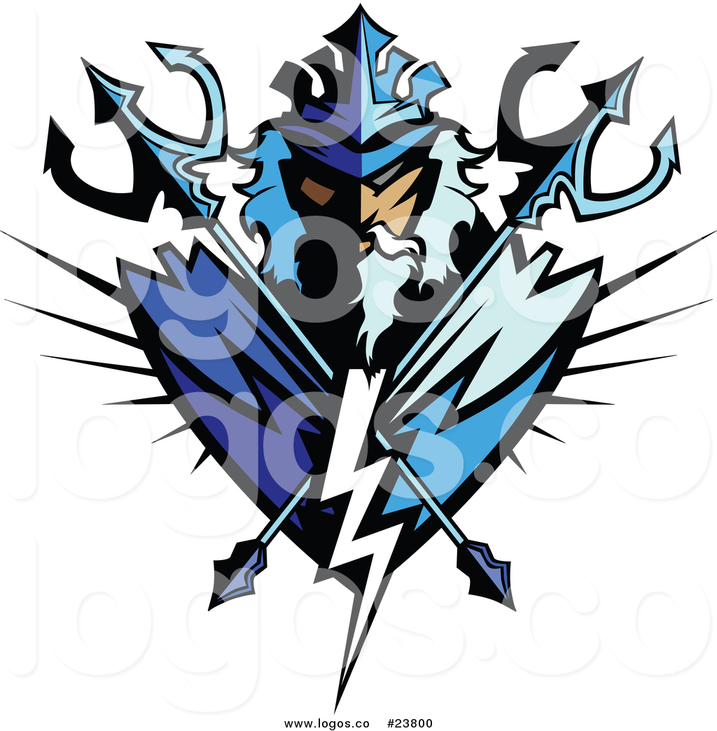 1024x1044 Vector Logo Of A Poseidon Mascot Badge With Crossed Tridents By