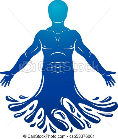 399x470 Vector Illustration Of Human, Athlete. Poseidon The God Of Clip