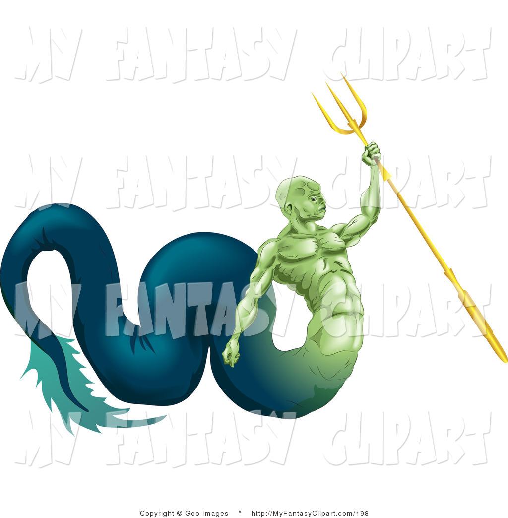 1024x1044 Clip Art Of A Poseidon Mermaid Mman, God Of The Sea, Part Fish