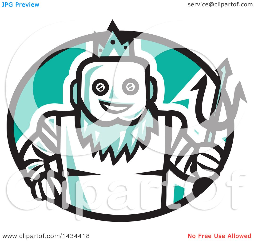 1080x1024 Clipart Of A Retro Robotic Poseidon Holding A Trident In A Black