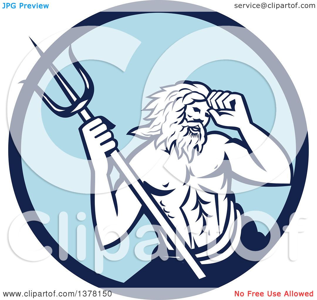 1080x1024 Clipart Of A Roman Sea God, Neptune Or Poseidon, With A Trident