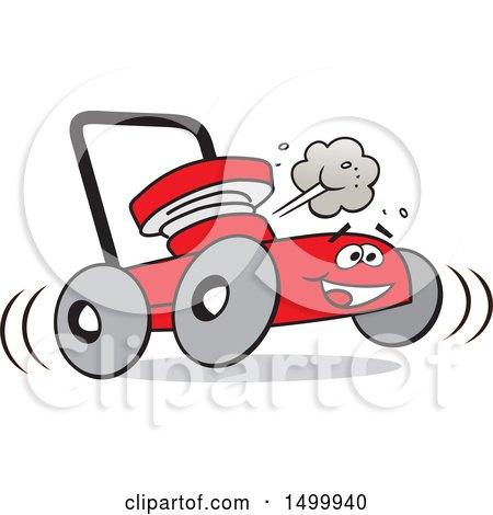 450x470 Clipart Of A Cartoon Possum Pushing A Red Lawn Mower