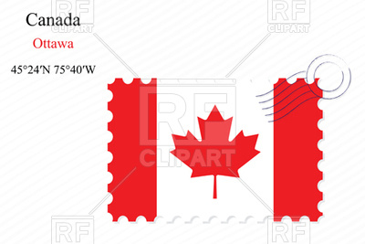 400x267 Postage Stamp With Flag Of Canada Royalty Free Vector Clip Art