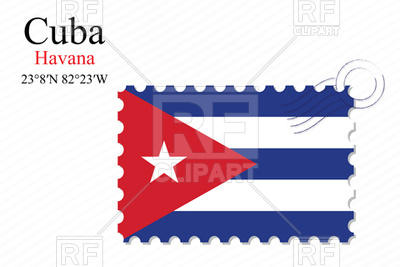 400x267 Postage Stamp With Flag Of Cuba Royalty Free Vector Clip Art Image