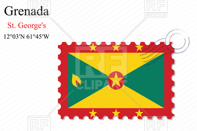 400x267 Postage Stamp With Flag Of Grenada Royalty Free Vector Clip Art