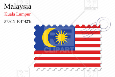 400x267 Postage Stamp With Flag Of Malaysia Royalty Free Vector Clip Art