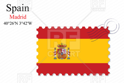 400x267 Postage Stamp With Flag Of Spain Royalty Free Vector Clip Art