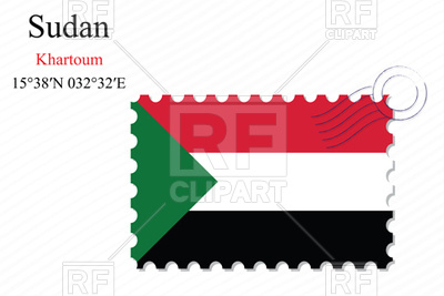 400x267 Postage Stamp With Flag Of Sudan Royalty Free Vector Clip Art