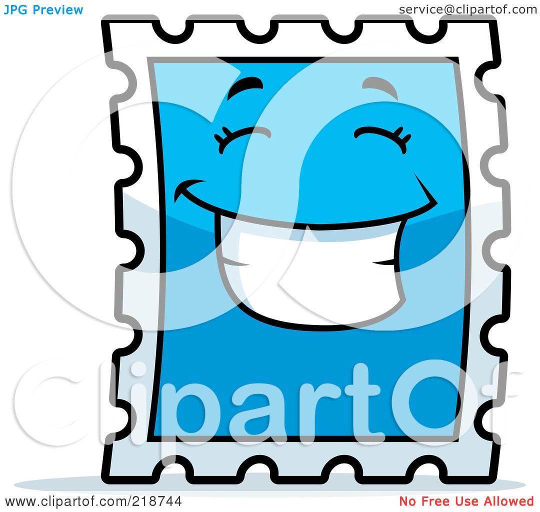 1080x1024 Royalty Free (Rf) Clipart Illustration Of A Happy Blue Postage