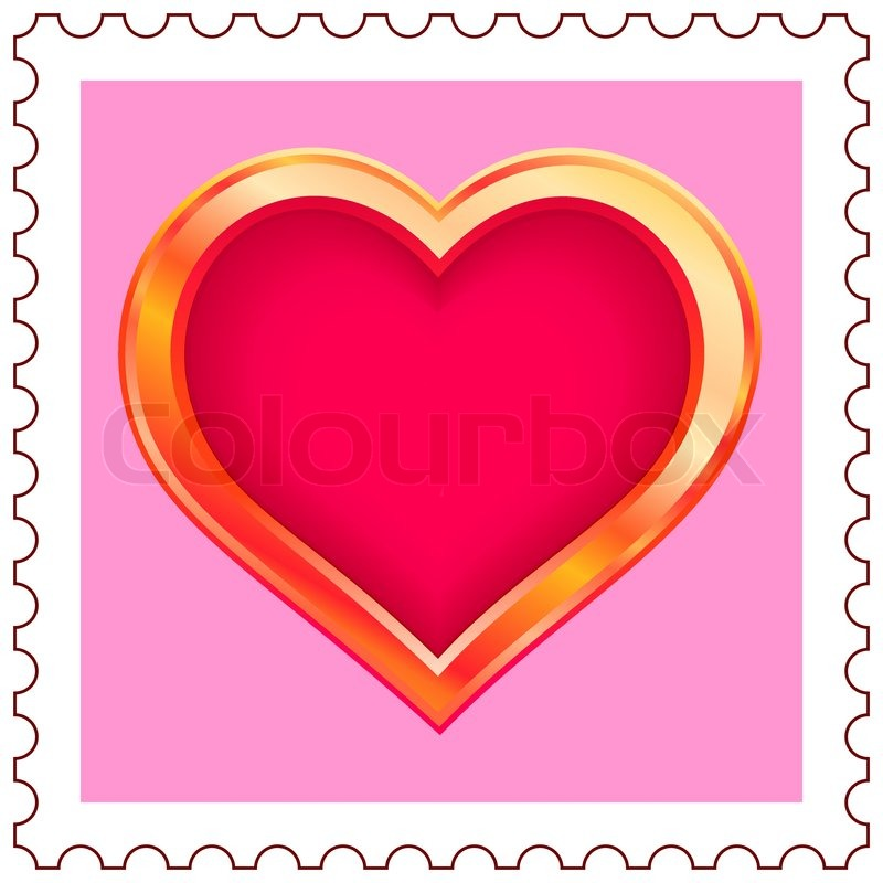800x800 Stylized Gold Valentine Heart On Postage Stamp Stock Vector