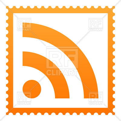 400x400 White Postage Stamp With Orange Rss Symbol Royalty Free Vector