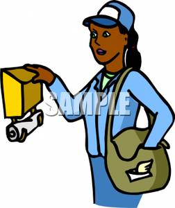 252x300 Clipart Picture An African American Postal Worker Delivering Mail