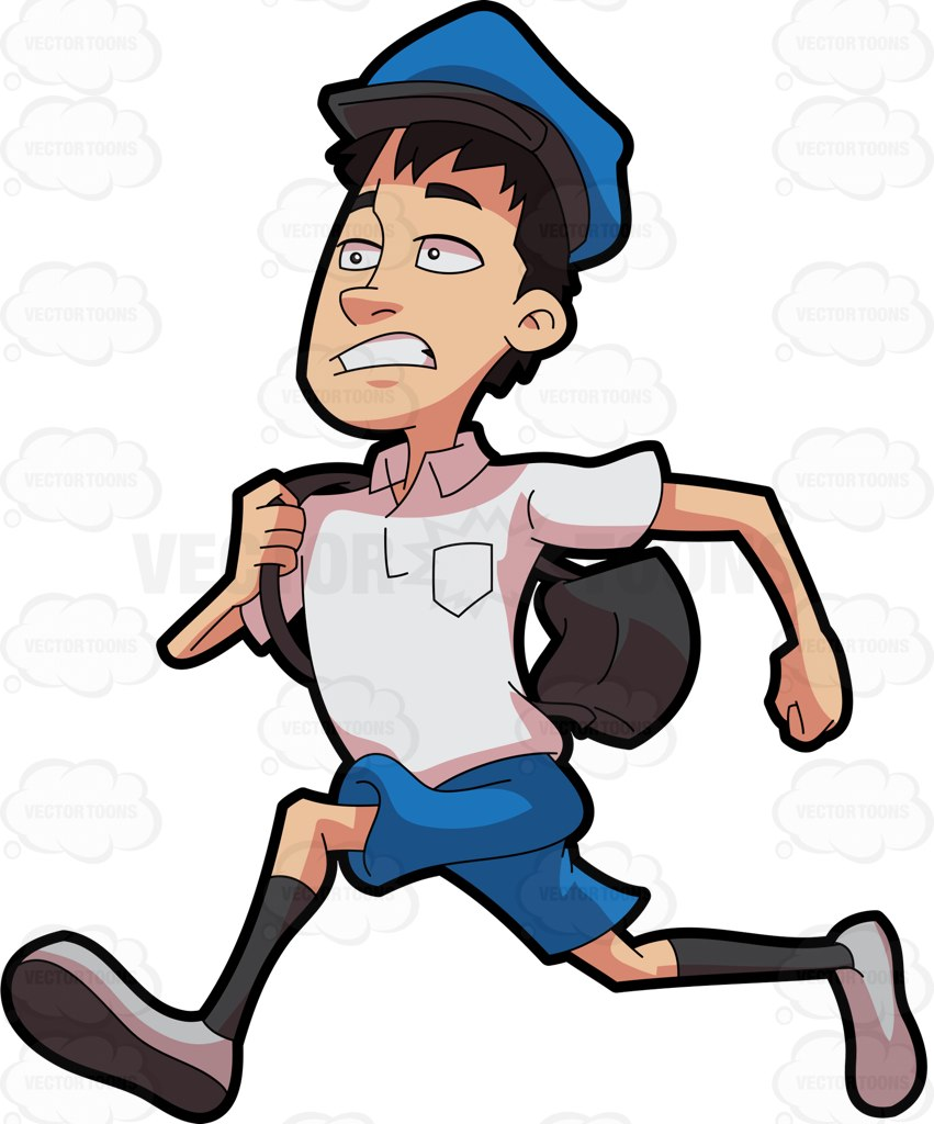 851x1024 A Postal Boy Running To Deliver The Mail Cartoon Clipart Vector