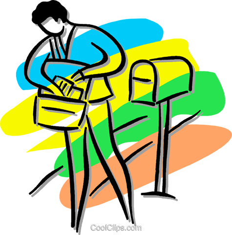 475x480 Postal Worker Delivering The Mail Royalty Free Vector Clip Art