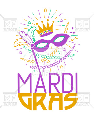 307x400 Mardi Gras Poster With Masquerade Mask Royalty Free Vector Clip