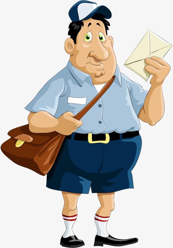 558x800 Fat Postman, Postman, Hand Painted Postman, Envelope Png Image