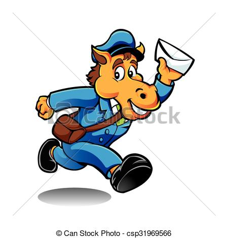 450x470 Horse Postman Character Delivering Mail Clip Art Vector