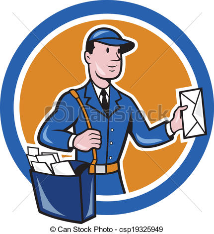 431x470 Mailman Postman Delivery Worker Circle Cartoon. Illustration
