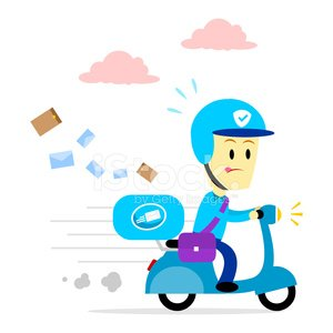 300x300 Postman Delivering Mail By Motorcycle Premium Clipart