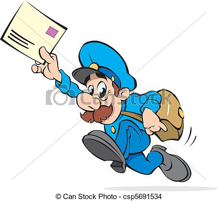 450x415 Postman With A Letter, Vector Illustration Eps Vector