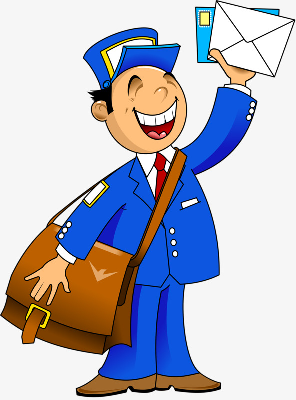 592x800 Cartoon Postman, Postman, Blue, Messenger Png Image And Clipart