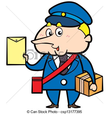 450x470 Cartoon Postman With Letter And Package. Cartoon Postman Eps