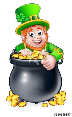306x500 Last Chance Leprechaun Pot Of Gold Stock Vecto