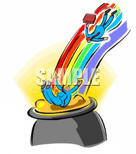 265x300 Businessmen Sliding Down A Rainbow Into A Pot Of Gold