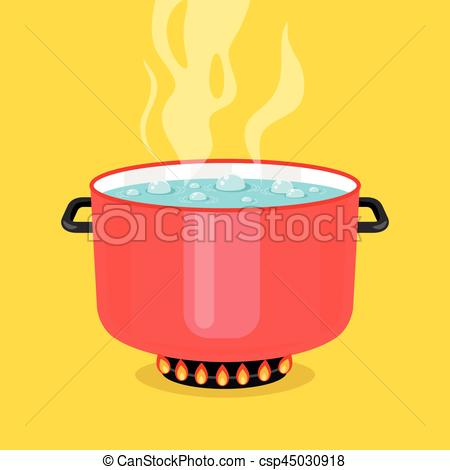 450x470 Boiling Water In Pan. Red Cooking Pot On Stove With Water