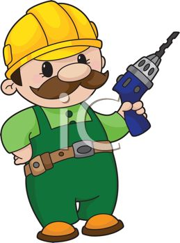 259x350 Royalty Free Clip Art Image Cartoon Handyman With A Power Drill
