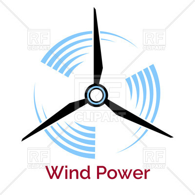400x400 Company Logo With Wind Turbine And Slogan Wind Power Vector