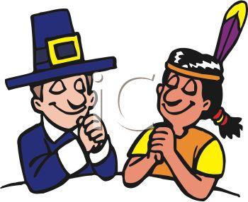 350x286 Pilgrim And Native American Indian Praying On Thanksgiving