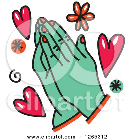 450x470 Royalty Free (RF) Clipart Illustration of a Praying Virgin Of