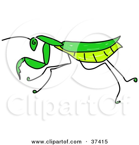 450x470 Clipart Friendly Green Praying Mantis