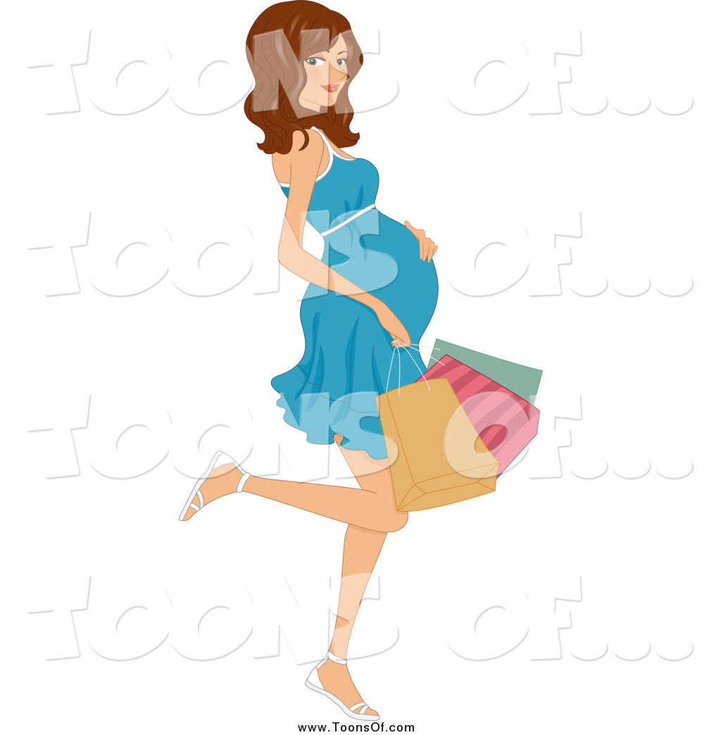 1024x1044 Clipart Of A Pregnant Brunette Woman Kicking Back A Leg
