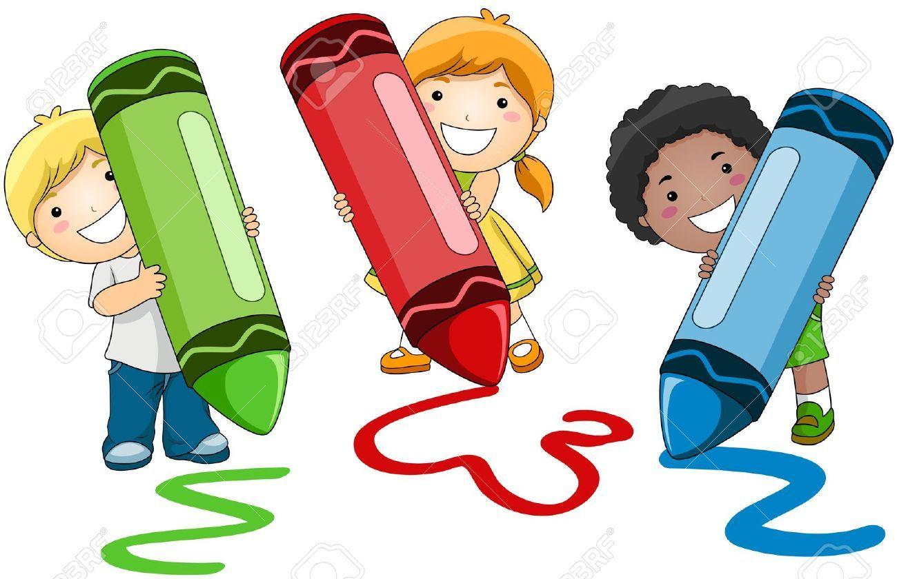 1300x840 7615500 Children Using Crayons Stock Photo Children Clipart