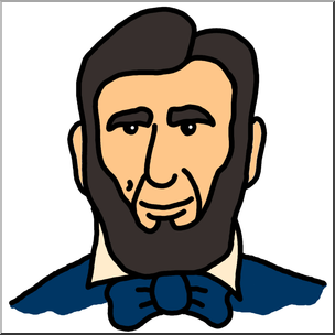 304x304 Clip Art Cartoon Faces Abraham Lincoln Color I
