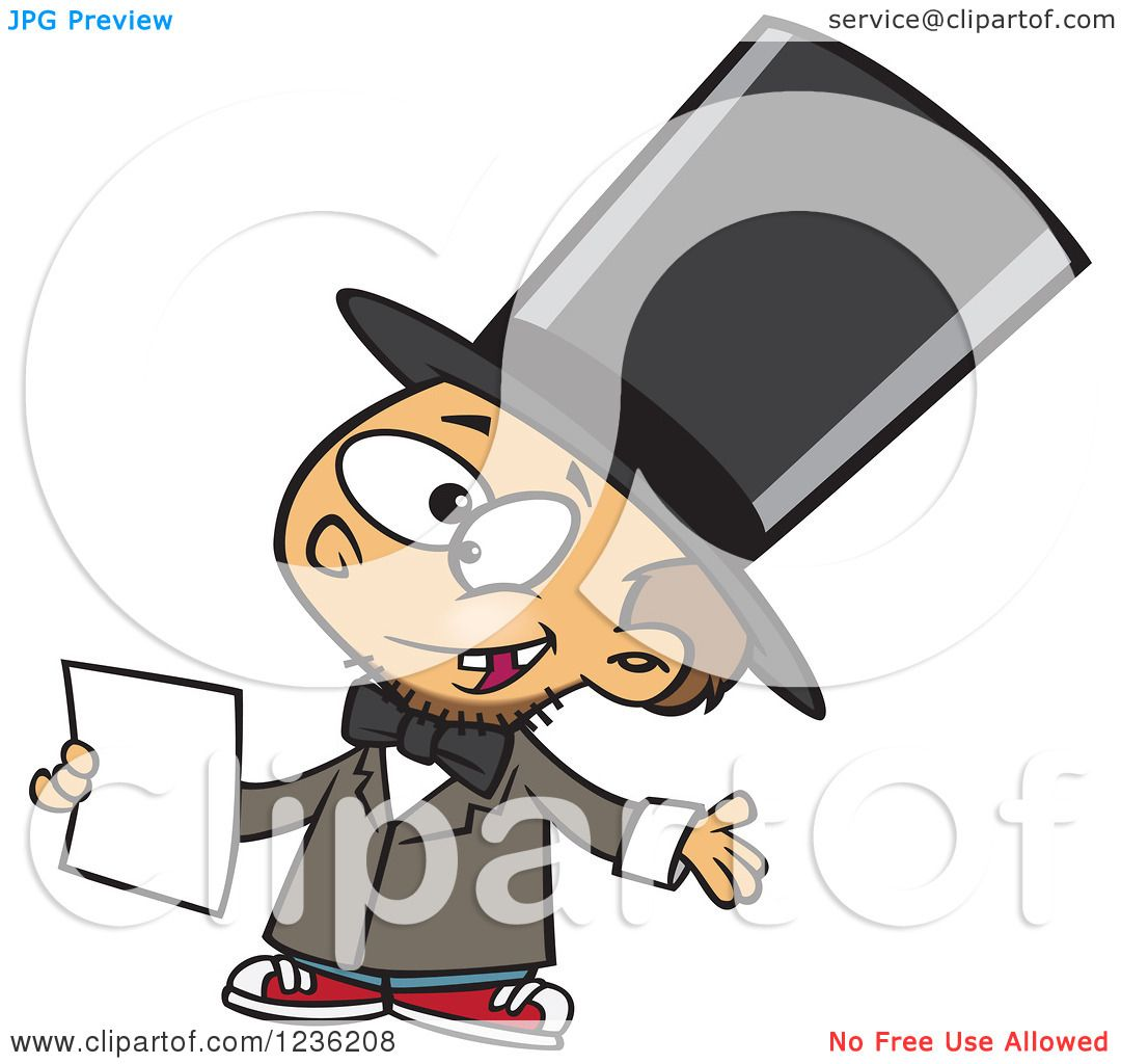 1080x1024 Clipart Of A Caucasian Boy Role Playing As Abraham Lincoln