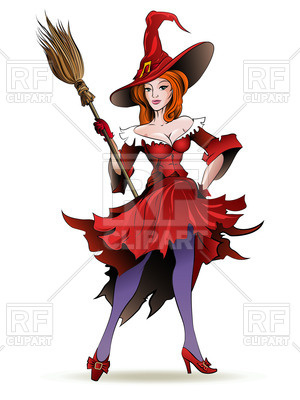 300x400 Standing Pretty Witch In Hat With Broom