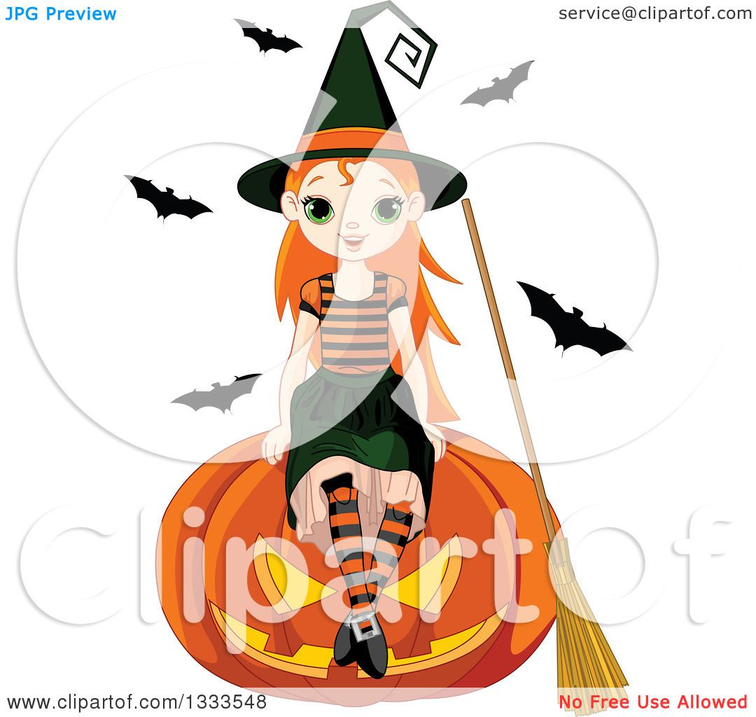 1080x1024 Clipart Of A Cute Red Haired White Witch Girl Sitting On A Giant